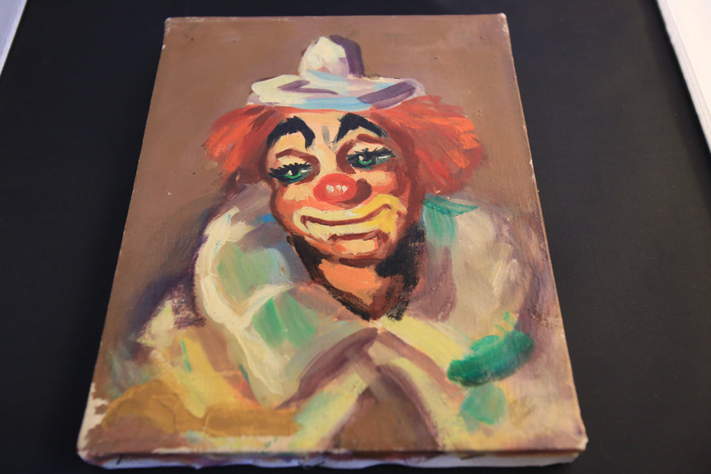 Vintage Clown Painting on Canvas