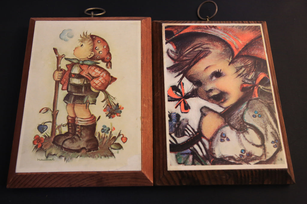 Pair of Vintage Hummel Prints on Wood Plaques