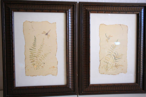 Pair of Framed Artwork featuring Dragonflies