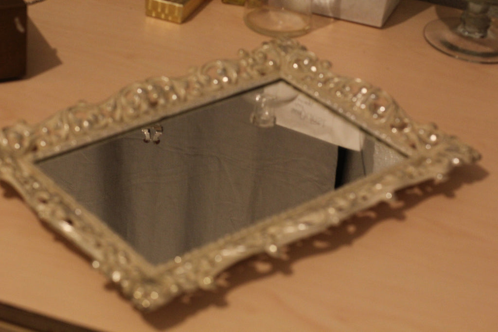 Vintage Decorative White And Silver Filigree Mirrored Vanity Tray