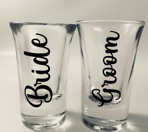 New Customized Bride and Groom Shot Glasses