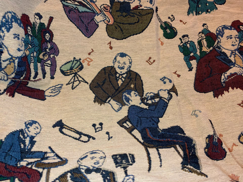 "91"" x 57"" Vintage Jazz Orchestra Band Upholstery Fabric"