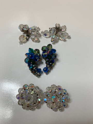 3 Pairs Vintage Crystal Rhinestone Clip on Earrings