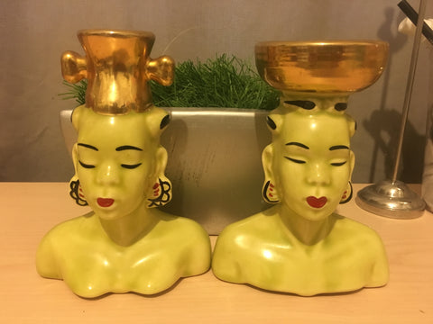 Pair of Vintage African Women Head Vases