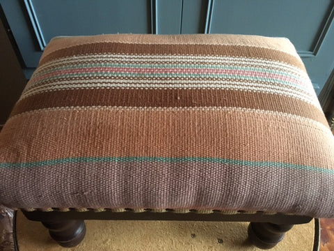 Fabric Covered Small Ottoman