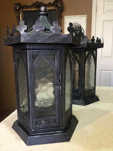 Black Metal Candle Lanterns with Scalloped Edges and Glass Panes