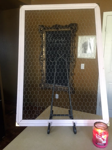 Large Framed Chicken Wire Message Board