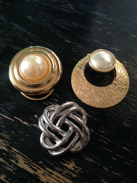 Set of 3 Vintage Scarf Clips