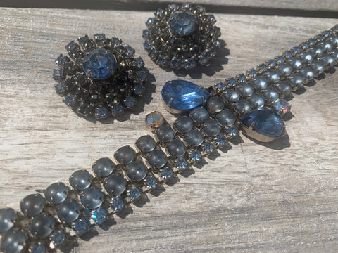 Vintage Blue Rhinestone Bracelet and Clip-on Earrings Set