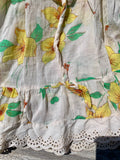 Handmade Vintage Girls Boho Yellow Floral Dress