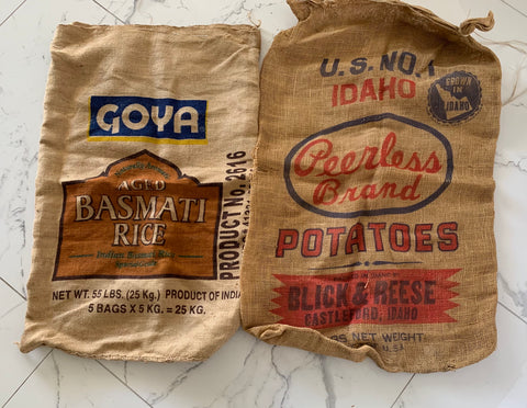 Peerless Potato and Goya Rice Burlap Sacks