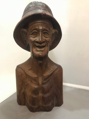 Antique Bali Indonesia Wood Carved Bust Fisherman