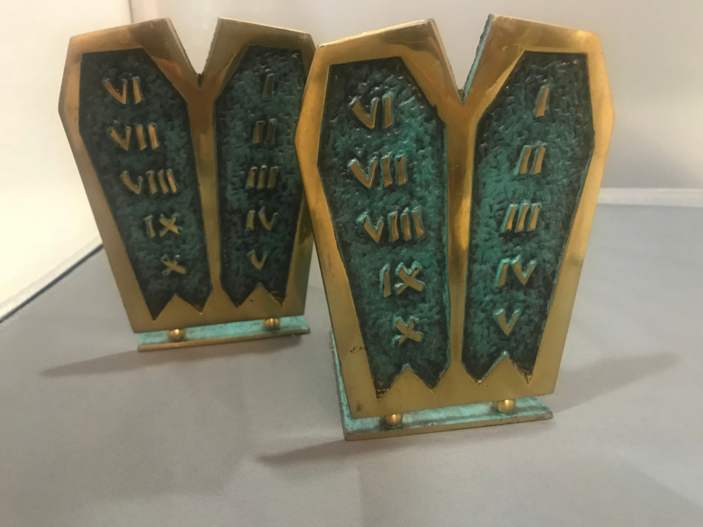 Vintage Brass Bookends Judaica Ten Commandments