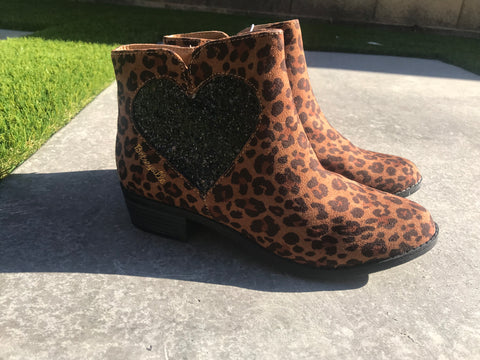 New Girls Pair Betseyville Leopard Ankle Boots Sz 4