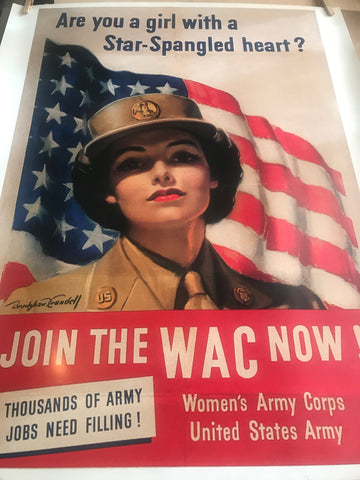 Join the WAC Now 1943 vintage style WW2 War Poster