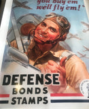 WW2 Defense Bonds Stamps Vintage Airman Propaganda Poster Art
