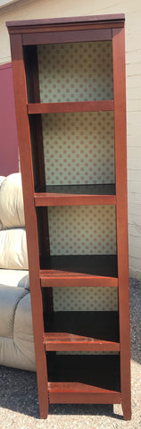 Narrow Brown Bookcase with Adjustable Shelves