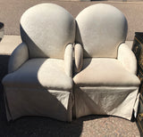 Pair of Upholstered Chairs with wood Legs