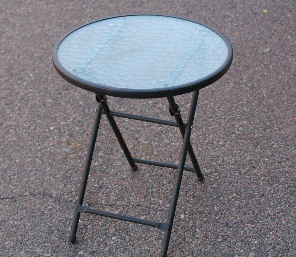 Folding Outdoor Glass Round Side Table
