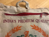 Burlap Zafarani Basmati Rice Bag with Zipper and Handle