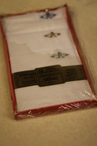 Package of 3 Fine Quality Vintage Men's Handkerchiefs by Fabrini