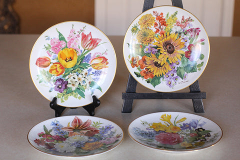 4 Hutschenreuther Germany Floral Collector's Plates