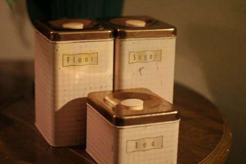 Vintage Maid of Honor Pink Canister Set