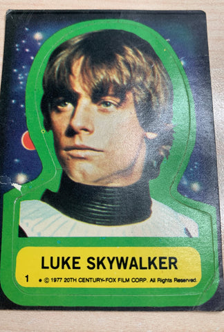 1977 Luke Skywalker Sticker Trading Card