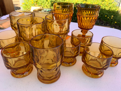Vintage amber colored drinking glasses