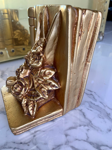 Pair of Vintage Gold Plaster Bookends
