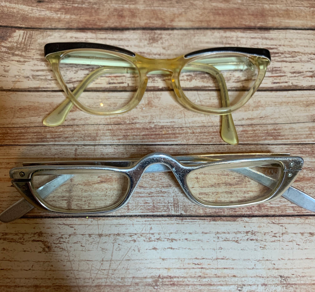 Two Pair of Midcentury Eyeglasses Aluminum Cat Eye