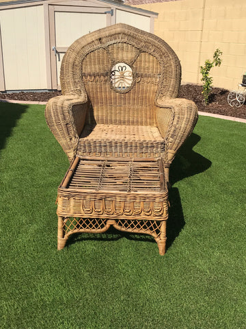 Ralph Lauren XL Wicker & Cane Chair with Ottoman