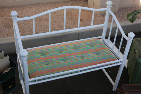 Boho bench with cushion metal frame