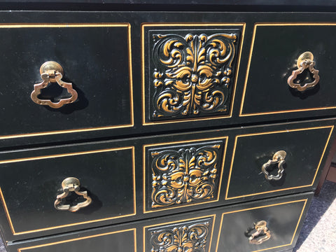 Black and Gold Small Chest of Drawers