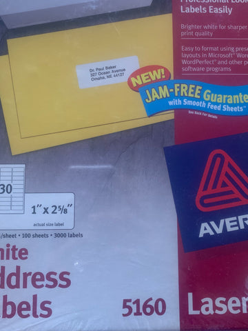 Two boxes of Avery 5160 Laser White Address Labels 3000 per box