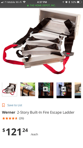 Like New Werner Built in Fire Escape Ladder