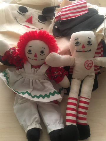 Large Lot Raggedy Ann Doll Making Supplies Patterns Fabrics And Dolls
