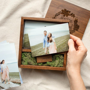 walnut photo box with prints