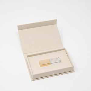 Crystal Glass USB 3.0 with Cream Linen USB Box