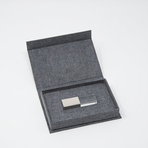 Crystal Glass USB 3.0 with Charcoal Linen USB Box