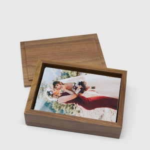 Walnut Photo Box with Top Lid