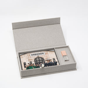 Gray Linen Photo Box with Glass USB 3.0
