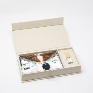 Cream Linen Photo Box with Glass USB 3.0