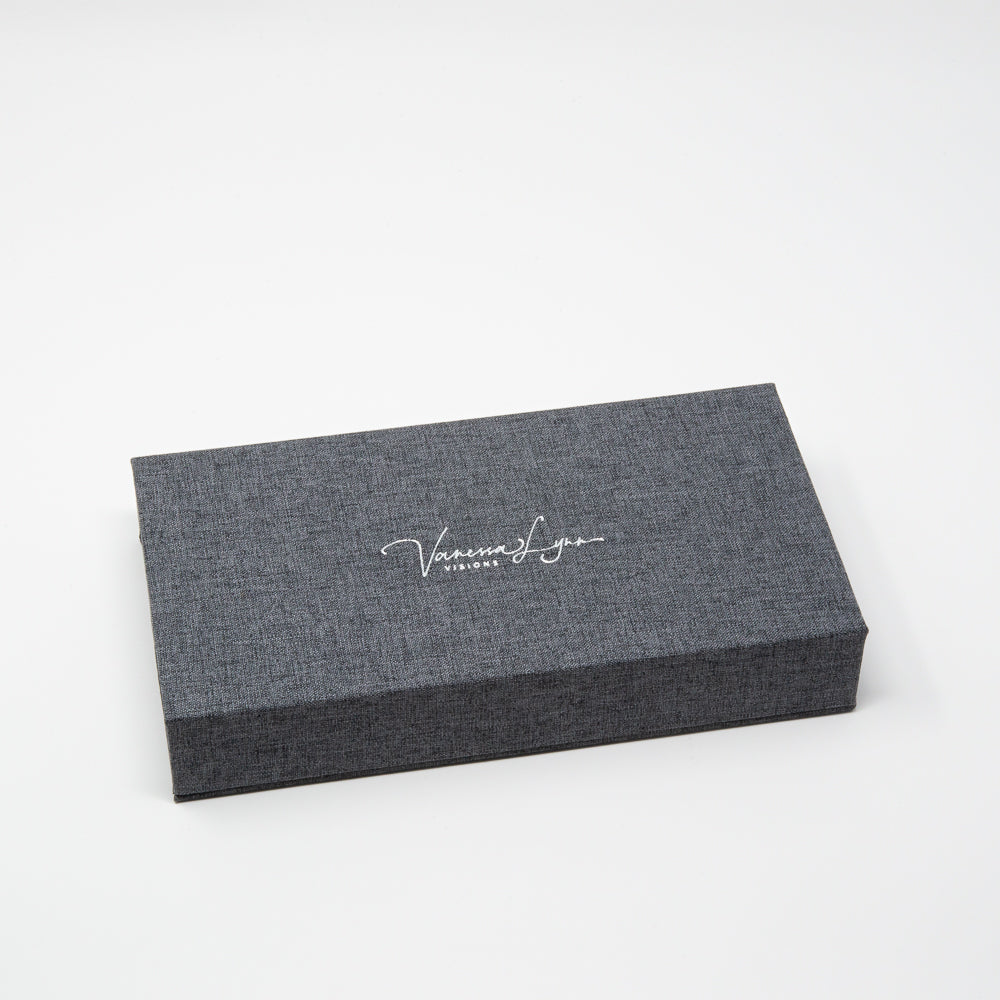 Charcoal Linen Photo Box with Glass USB 3.0
