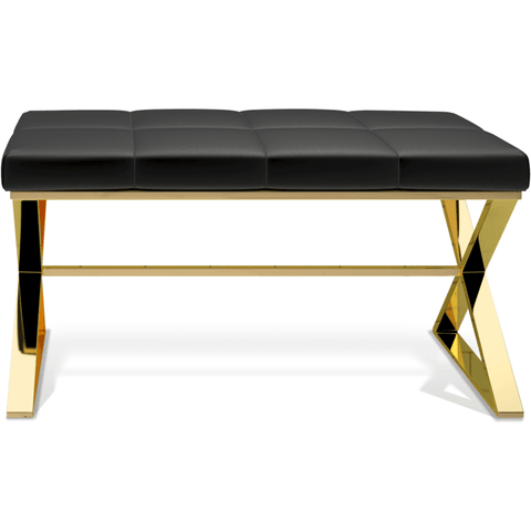 BENCH Backless Vanity Stool Bench Chair With Brass Metal Crossed Legs - AGM Home Store LLC
