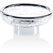SR STS Crackled Glass Free Standing Round Soap Dish Holder Tray Soap Holder - AGM Home Store LLC