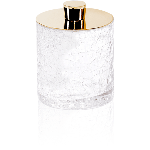 CR DMD Crackled Glass Round Cotton Ball Swab Holder, Q Tip Jar for Bath, Brass - AGM Home Store LLC