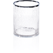 CR AB Crackled Glass Round Wastebasket Trash Can for Bath, Kitchen, Office - AGM Home Store LLC