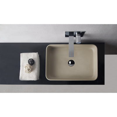 ID Solid Surface 20 in. Square Vessel Sink Bowl Above Counter Sink Lavatory - AGM Home Store LLC