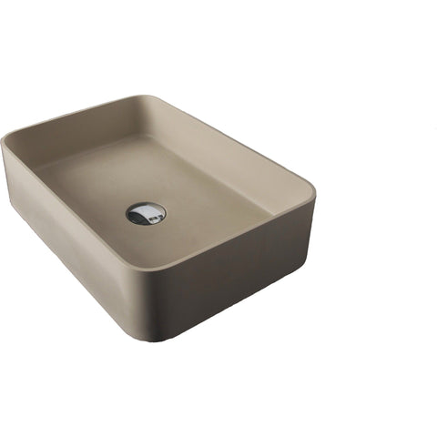 Solidthin Solid Surface 20 in. Square Vessel Sink Bowl Above Counter Sink Lavatory - AGM Home Store LLC